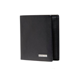 SAMSONITE DLX LEATHER WALLETS SLIMLINE WITH COIN PLUS 3CC BLACK