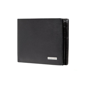 SAMSONITE DLX LEATHER WALLETS WALLET WITH COIN AND ID PLUS 7CC BLACK