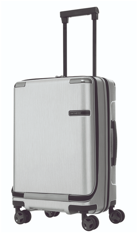 Samsonite Evoa 55cm Spinner Front Pocket Brushed Silver