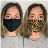PACK OF 2 FACE MASKS LEOPARD/BLACK