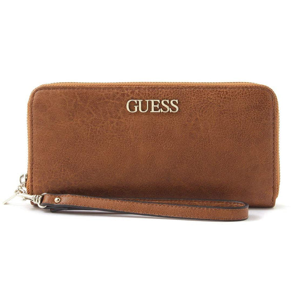 GUESS ALBY SLG LARGE ZIP AROUND WALLET COGNAC