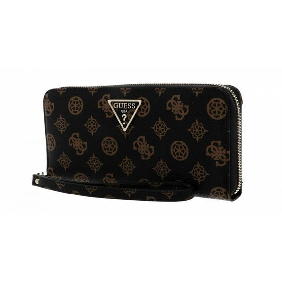 GUESS SANDRINE SLG LARGE ZIP AROUND WALLET MOCHA