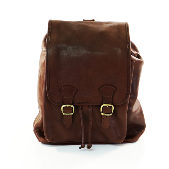 I MEDICI BACKPACK RUCKSACK DOUBLE BUCKLE DARK TAN
