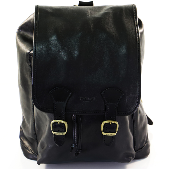 I MEDICI BACKPACK RUCKSACK DOUBLE BUCKLE BLACK
