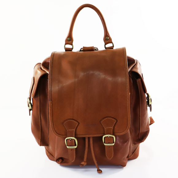 I MEDICI BACKPACK LARGE RUCKSAK 2 SIDE BUCKLES TAN