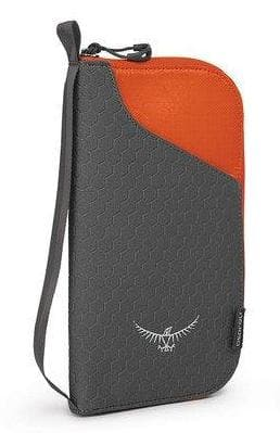 OSPREY RFID BLOCKING DOCUMENT ZIP PASSPORT WALLET POPPY ORANGE