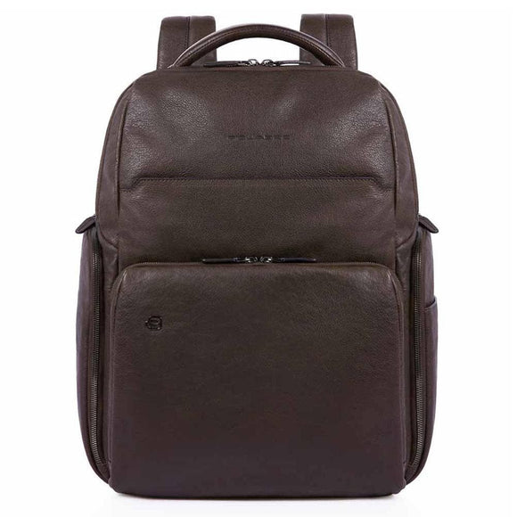 PIQUADRO BLACK SQUARE LEATHER BACKPACK DARK BROWN
