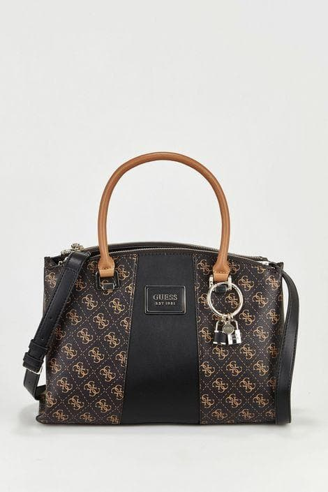 GUESS TYREN STATUS SATCHEL BROWN/BLACK