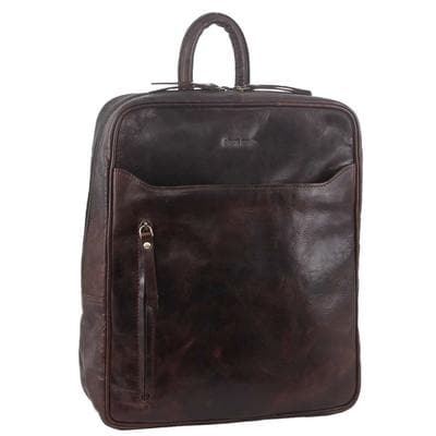 PIERRE CARDIN LEATHER BACKPACK CHOCOLATE
