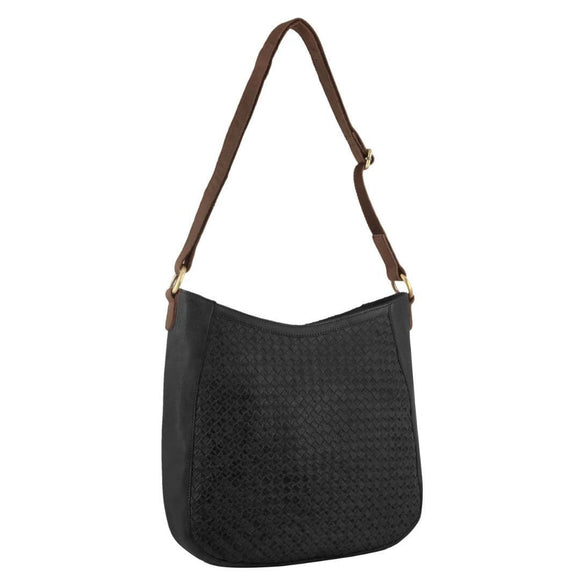 PIERRE CARDIN HOBO WOVEN LEATHER BLACK