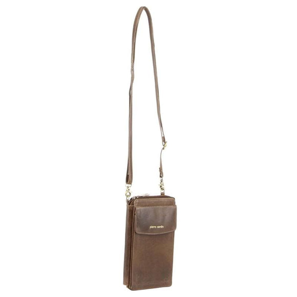 PIERRE CARDIN LEATHER WALLET CROSSBODY MUSHROOM