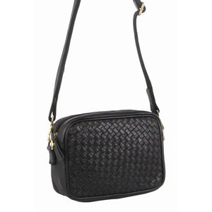 PIERRE CARDIN LEATHER CROSSBODY BAG BLACK