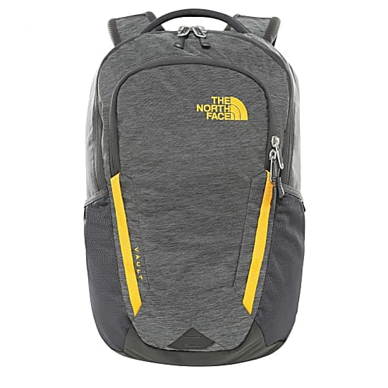 THE NORTH FACE VAULT BACKPACK ASPHALT GREY LIGHT HEATHER ZINNIA ORANGE