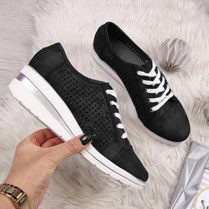 Women's Leather Hollow Out Wedge Heel Sneakers