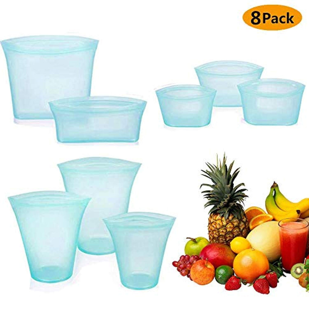 8Pcs Reusable Silicone Food Storage Bag