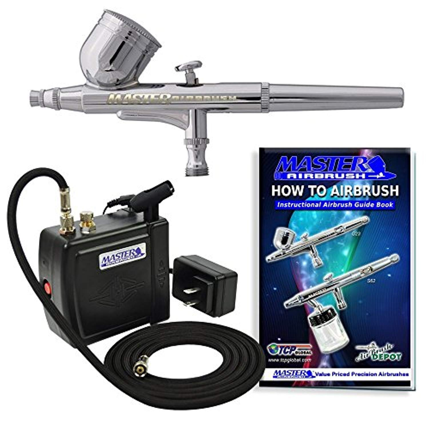 Multi-Purpose Airbrushing System Kit with Portable Mini Air Compressor - Gravity Feed Dual-Action Airbrush, Hose