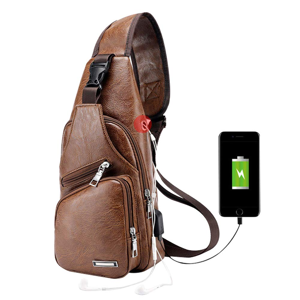 Leather Shoulder Shoulder Bag with USB Charging Port