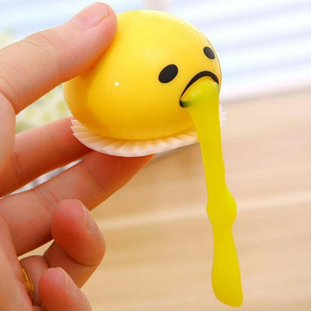 SQUISHY PUKING EGG YOLK STRESS BALL WITH YELLOW GOOP