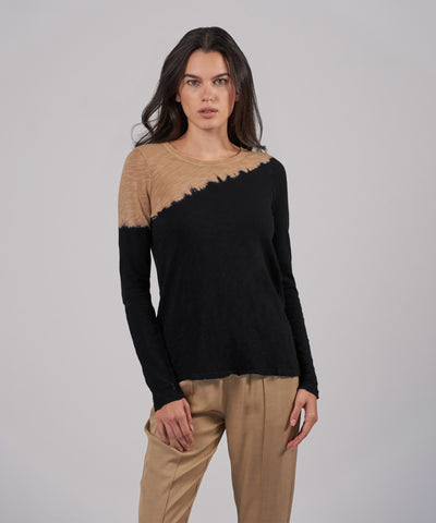 Slub Jersey Long Sleeves Desert Crew Balsa/Black