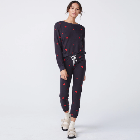Embroidered Heart Boyfriend Sweatpant - Faded Black