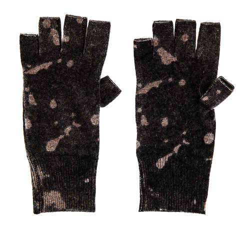 Ink Splatter Fingerless Gloves Mulch Blk