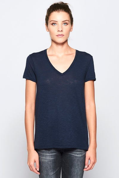 Slub V Neck Short Sleeve Tee - Navy
