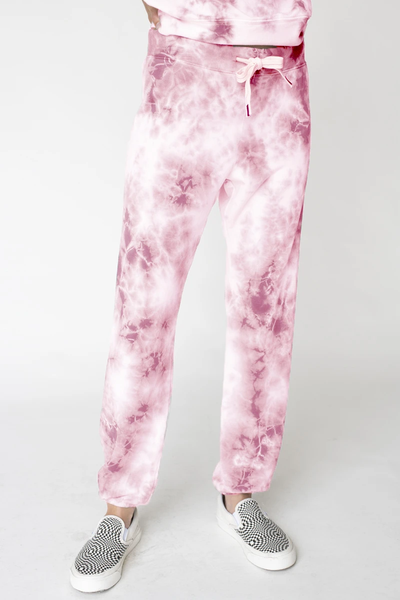 Viscose Fleece Marble Dye Sweatpant - Dusk Pink