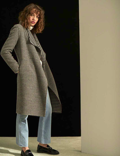 Adelaide Reversible Wrap Coat - Houndstooth
