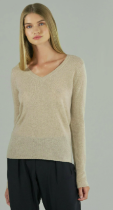 Cashmere V-Neck - Heather Oat