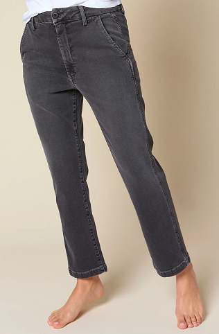 Easy Trouser Crop Washed Black