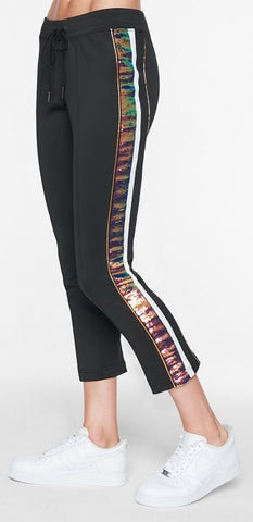Sequin Stripe Track Pant