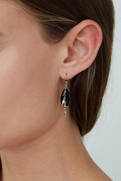 Onyx/Silver Drop Earrings