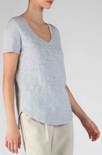 Slub V Neck - Grey Fog