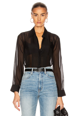 Swinton Pintuck Blouse Black