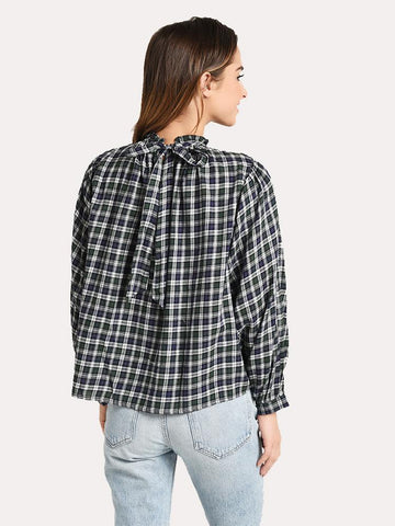Talia Shirred Navy/Green Plaid