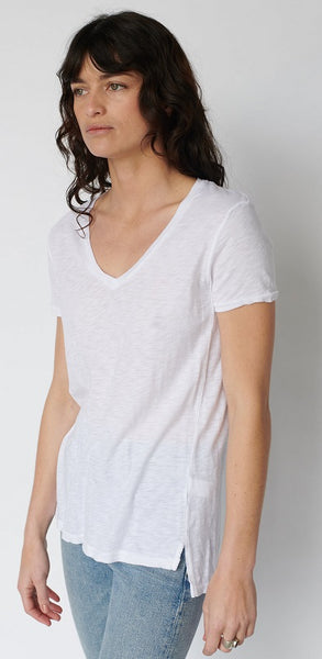Slub V Neck Short Sleeve White