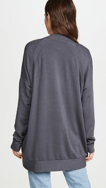 Cozy Fleece Cardigan - Charcoal