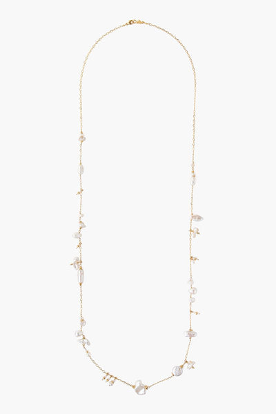 White Pearl Gold Layer Ncklace