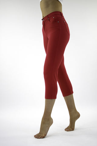 Marble crop jeans in red