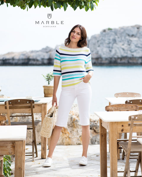 Marble spring striped sweater