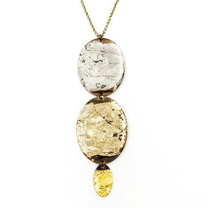 Brass, antique bronze and gold leaf necklace