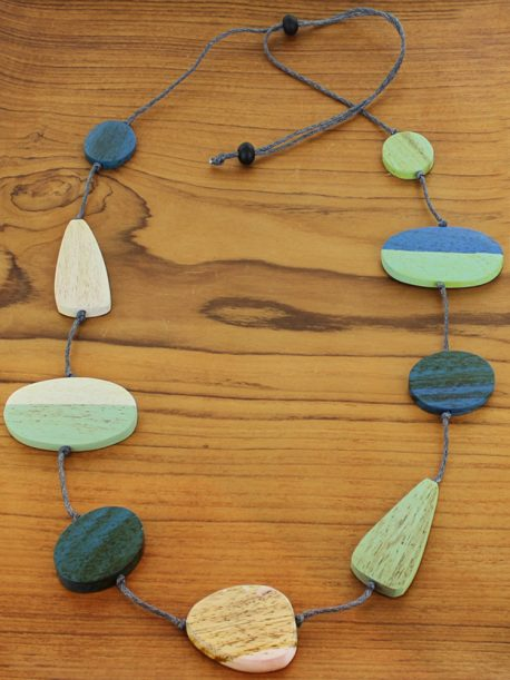 Long mixed shape wooden necklace