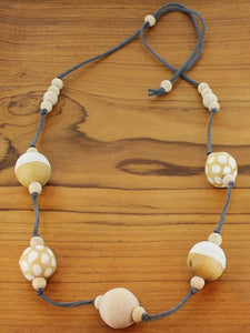Handpainted wooden ball necklace