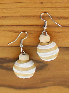Wooden ball earrings with white stripes
