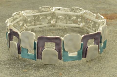 Purple, teal and silver elasticated bracelet