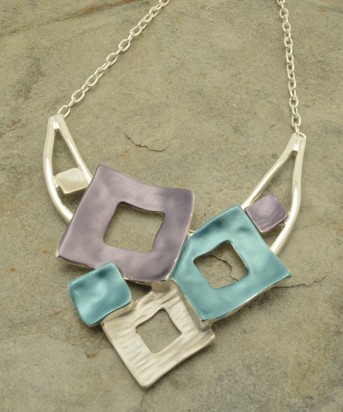 Purple, silver and teal cluster of squares necklace