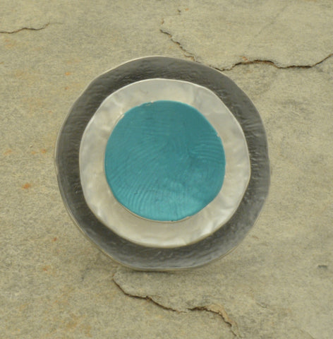Teal, silver and grey disc ring