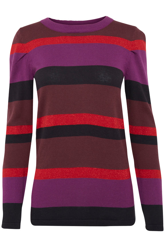 ICHI UK casual fit stripe and glitter long sleeve top for Autumn