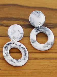 Marbled design resin earrings