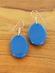 Double-Sided Oval Resin Earrings - Grey & Blue